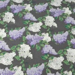 Kwiaty bzu biało fioletowe na szarym tle - 220cm