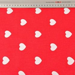 Tkanina w serduszka białe 40mm na czerwonym tle