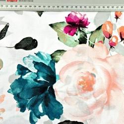 Kwiaty duże turkusowe, czerwone i ecru na białym tle