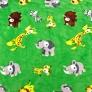 Tkanina Polar plus zwierzęta Afrykańskie na zielonym tle