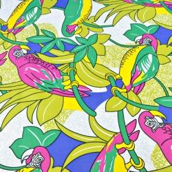 Tkanina wodoodporna kolorowe papugi na białym tle