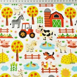 Bawełna Zwierzątka kolorowe na farmie na białym tle