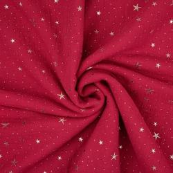Tkanina Muślin double gauze czerwony (Chilli Pepper) w złote gwiazdki