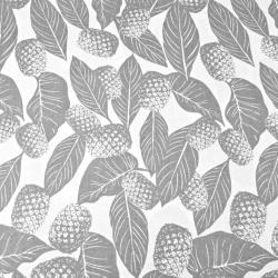 liście z ananasami szare na białym tle