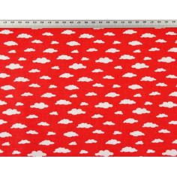 Bawełna chmurki MINI białe na czerwonym tle