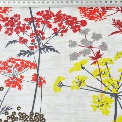 Bawełna Kwiaty kopru czerwono żółte na beżowym tle