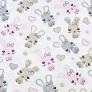 Bawełna króliki różowo beżowe na białym tle