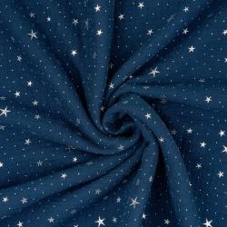 Tkanina Muślin bawełniany double gauze granatowy (Poseidon) w srebrne gwiazdki