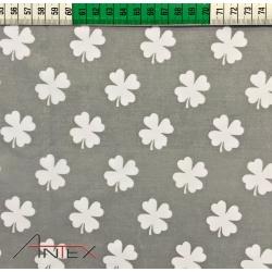 Tkanina koniczyna biała na szarym tle
