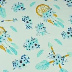 łapacz snów ze strzałkami niebiesko miętowy na pistacjowym tle