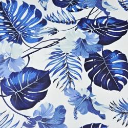 liście z kwiatem hibiskusa niebieskie na białym tle