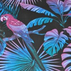 Bawełna liście duże niebiesko fioletowe z papugami na czarnym tle