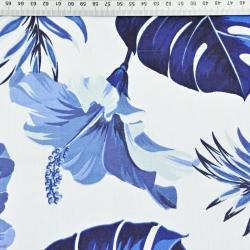 liście z kwiatem hibiskusa niebieskie na białym tle - 220cm