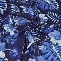 liście z kwiatem hibiskusa niebieskie na granatowym tle - 220cm