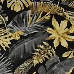 liście duże ciemno szaro złote na czarnym tle - 220cm