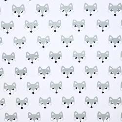 Bawełna Liski szare na białym tle