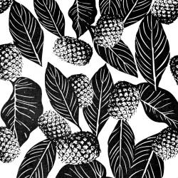 liście z ananasami czarne na białym tle