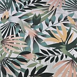 Liście palmowe zielono morelowe na białym tle