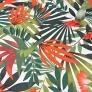 Bawełna Liście palmowe zielono czerwone na białym tle