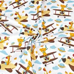 Zwierzątka afrykańskie w samolotach na białym tle