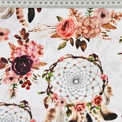 łapacz snów brudny róż z kwiatami na białym tle - 220cm