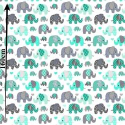 Słonie indyjskie MINI szaro miętowe na białym tle