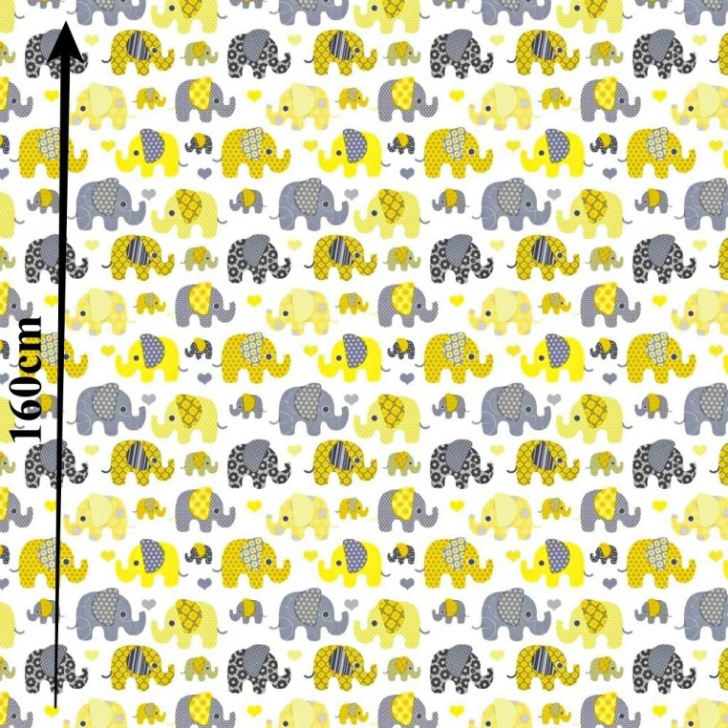 Słonie indyjskie MINI szaro żółte na białym tle