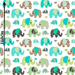Słonie indyjskie zielono brązowe na białym tle