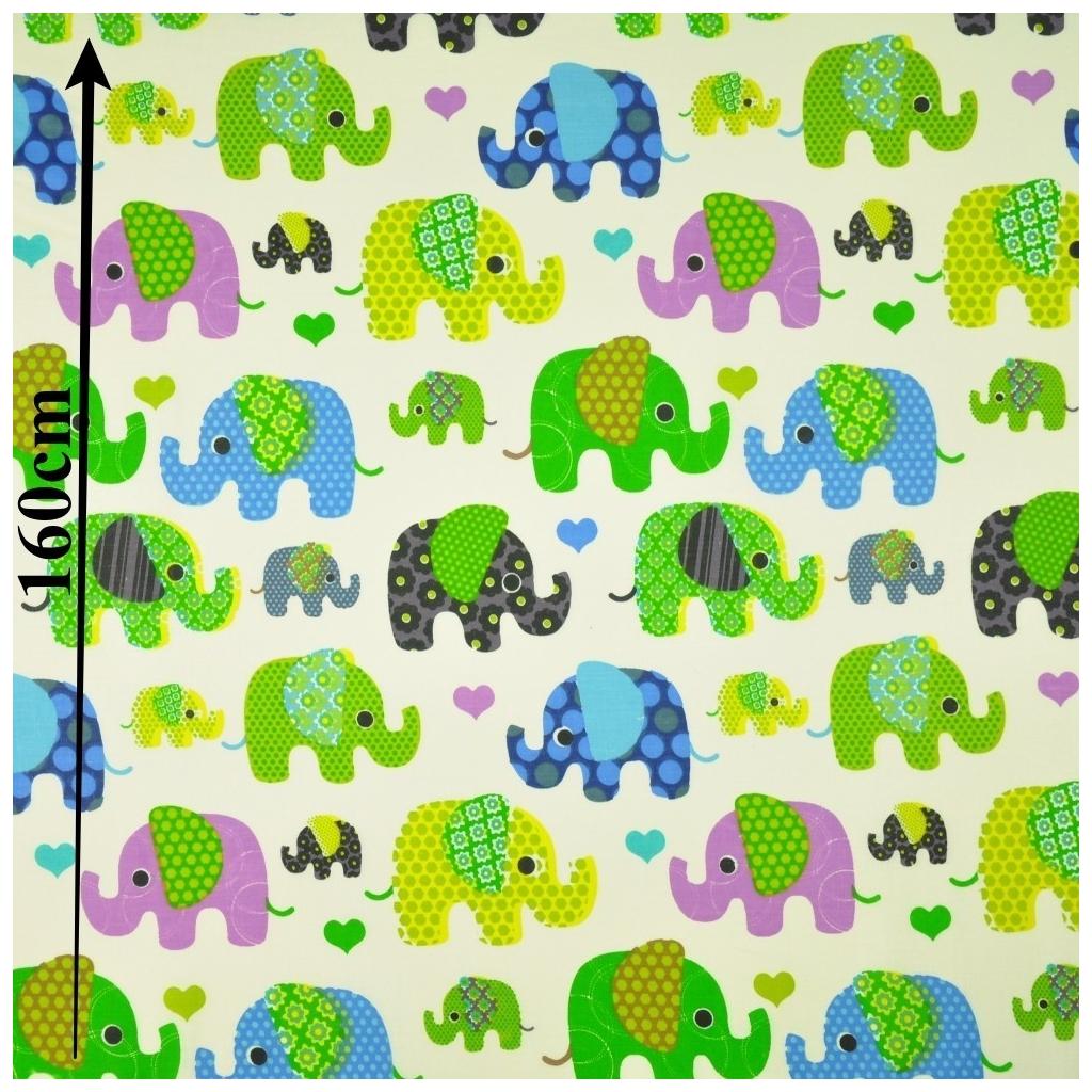 Słonie indyjskie zielono niebieskie na ecru tle