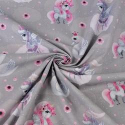 jednorożce z łabędziami błękitno-różowe na szarym tle