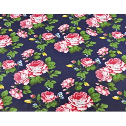 Bawełna kwiaty róże różowe na granatowym tle