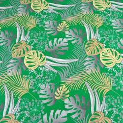 liście monstera żółto szare na zielonym tle