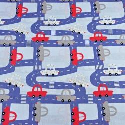 ulice z samochodami granatowe na niebieskim tle