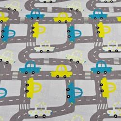 ulice z samochodami szare na jasno szarym tle