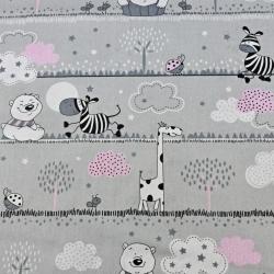 misie i żyrafy różowe w pasach na szarym tle