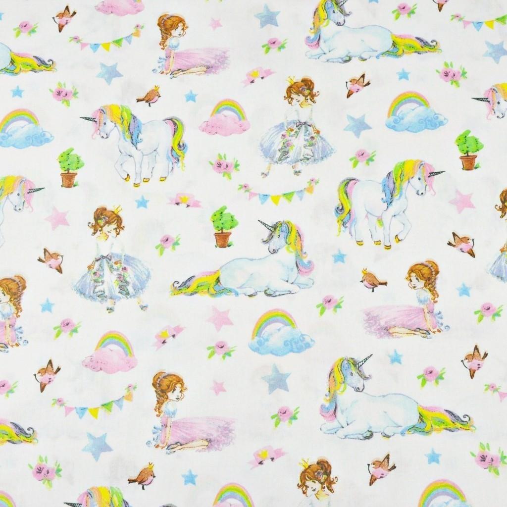 jednorożce kolorowe z księżniczkami na białym tle