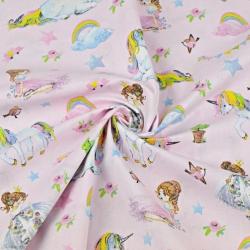 jednorożce kolorowe z księżniczkami na różowym tle
