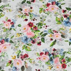 Bawełna kwiaty bukiety róż różowo - granatowo - zielone