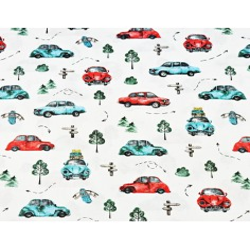 samochody garbusy turkusowo czerwone na białym tle