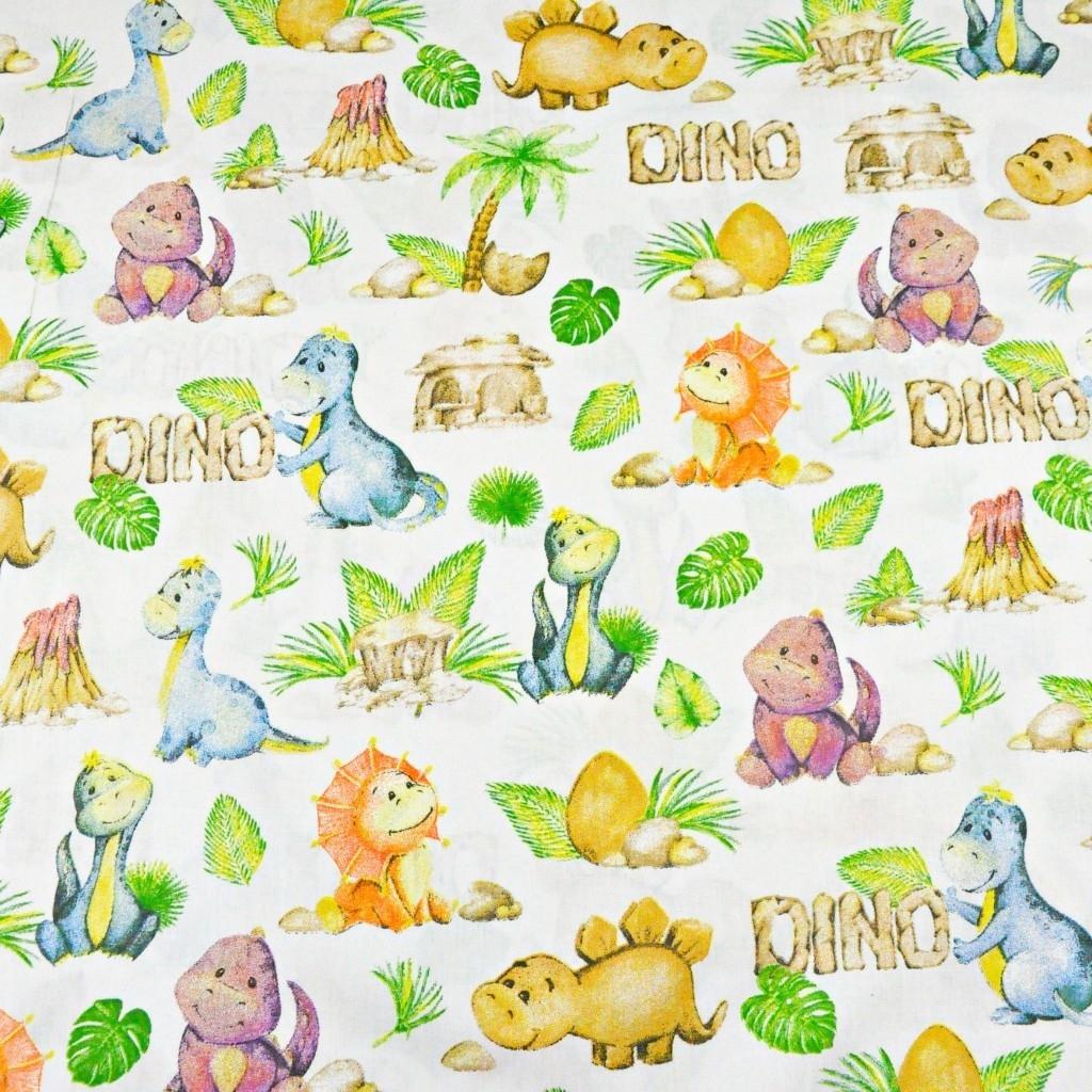 dinozaury pomarańczowo zielone na białym
