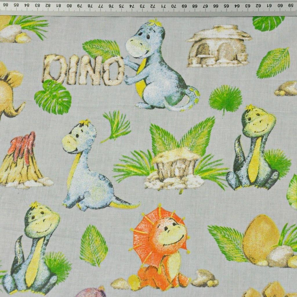 dinozaury pomarańczowo zielone na szarym tle