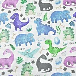 dinozaury z pterodaktylem niebiesko zielone na białym tle