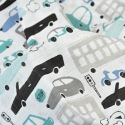 Tkanina Muślin bawełniany samochody szaro turkusowe na białym tle