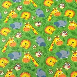 zwierzęta lwy słonie żyrafy na zielonym tle