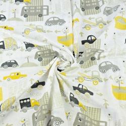 Tkanina Muślin bawełniany samochody w mieście szaro żółte na białym tle
