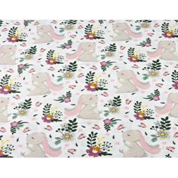 Bawełna króliki na zielono fioletowej łące na białym tle