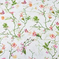 kwiaty pnącza z motylkami na białym tle