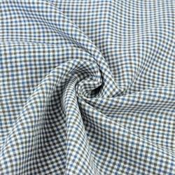 Len odzieżowy kratka niebiesko biało szara - 125g