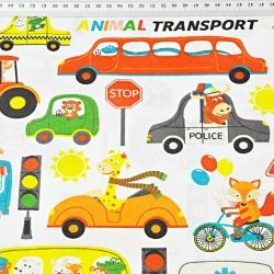 zwierzęta kolorowe animal transport na białym tle