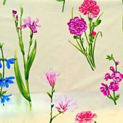 Tkanina w Kwiaty irysy i goździki na ecru tle